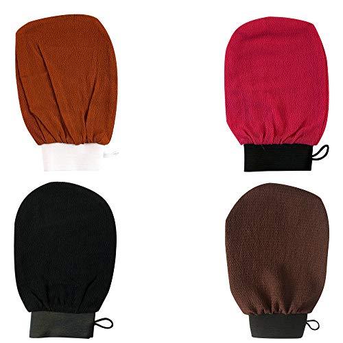 IWLCS 4 guantes exfoliantes de spa, guantes de ducha exfoliantes de baño, manoplas exfoliantes, toallas de baño exfoliantes, guantes de baño, color negro, naranja, marrón, rojo rosa