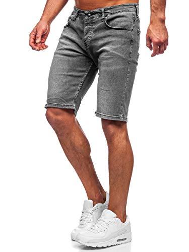 BOLF Hombre Pantalón Corto Vaquero Pantalones Vaqueros Denim Shorts Pantalón de Algodón Sombreado Cargo Estilo Diario RWX 3032 Gris S [7G7]