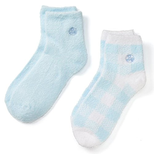 Earth Therapeutics Aloe Vera & Vitamin E Moisturizing Socks-2 Pack: Baby Blue/Plaid by Earth Therapeutics