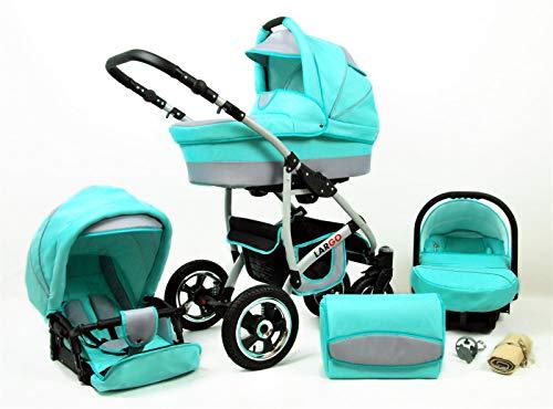 Cochecito de bebe 3 en 1 2 en 1 Trio Isofix silla de paseo New L-Go by SaintBaby Mint 3in1 con Silla de coche