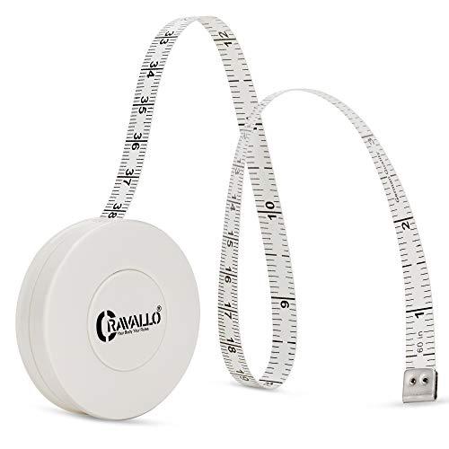 Cravallo® Maßband (Basic) I Bandmaß I Schneidermaßband I Kapselmaßband 150 cm / 60 INCH mit automatischem Rücklauf (Weiß)