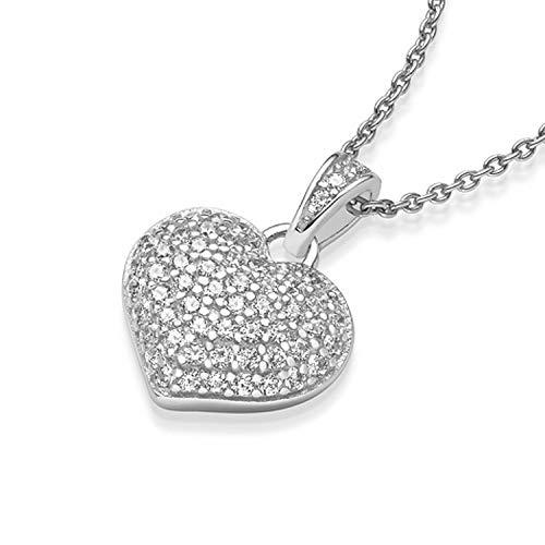 Herz-Kette Silber 925 mit Zirkonia Steinen Geschenke für Mama Mütter GRATIS Etui mit Gravur: Für die Beste Mama der Welt Echt-Silber Herz-Anhänger Muttertag Geburtstag FF72SS925ZIFA45-13