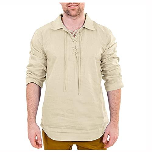 Camisetas de algodón y lino para hombre, de manga larga, estilo retro,...