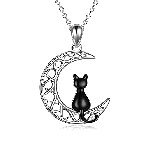 POPLYKE Celtic Moon Cat Necklace for Girls Sterling Silver Cat Pendant Irish Jewelry Gifts for Women Mother Daughter Sister