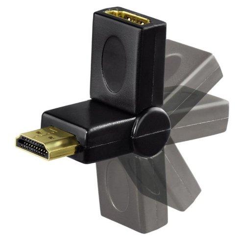 Hama HDMI-Winkeladapter 75083012 Adapter, mit Gelenk, männlich/weiblich, vergoldete Kontakte, Schwarz