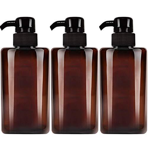 Jolitac 16 oz Dispenser Refillable Bottles 3 Pack, Shampoo Conditioner & Wash Shower Refillable Containers Pet Plastic Empty Amber Pump Bottle (Brown-Liquid)