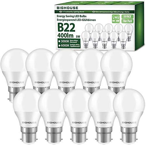 B22 LED-Leuchtmittel, BIGHOUSE 5 W, 400 Lumen, B22 LED Bajonett-Glühbirne, entspricht 40 W Halogen-Leuchtmittel, Warmweiß 3000 K, G45 Energiesparlampe, nicht dimmbar, 10 Stück