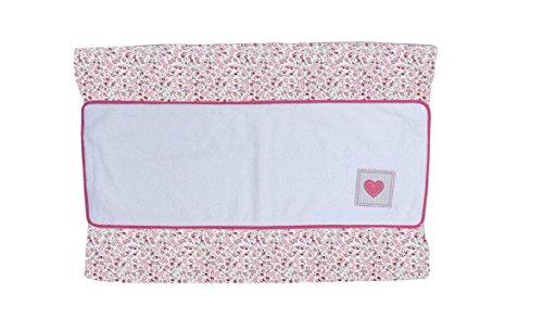 Cambiador bebe interior plastificado LIBERTY bordado CORAZON. Color Rosa. Medida 80x53 cm. Desenfundable. Válido para cómodas, bañeras y convertibles. KOKETES, BEBELOVERS, MOBIBE