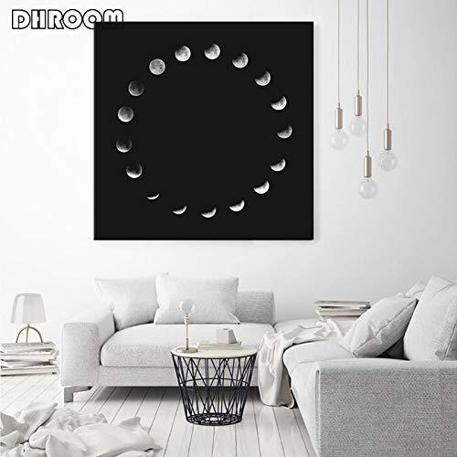 oioiu Negro Retro Fase Lunar Arte de la Pared Cartel de la Luna en Blanco y Negro minimalismo Impresiones Mural Moderno decoración de la Sala Eclipse Lunar Total Sala de Estar Simple Soy el Aula