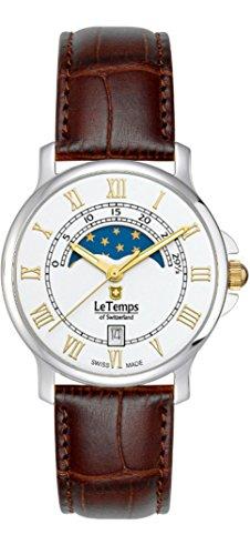 Le Temps of Switzerland Mujer Reloj bicolor, fase lunar Ø 35mm