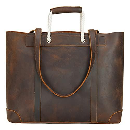 TIDING Bolso de mano de piel auténtica para mujer, bolso de mano para ordenador portátil, bolso de viaje, bolso de trabajo, bolso de mano de color marrón oscuro, color Marrón, talla Medium