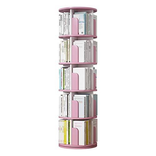 Librerías Estantería giratoria de 360 ° Estantería de Piso para niños Estantería ensamblada de múltiples Capas Estante Que Ahorra Espacio (Color : Pink, Size : 5 Layers(46 * 160cm))