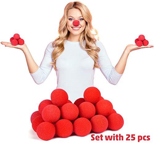 Balinco 25x Rote Clownsnasen   Clown Nasen aus Schaumstoff - perfekt für größere Partygruppen geeignet zum Karneval   Fasching oder Motto Party