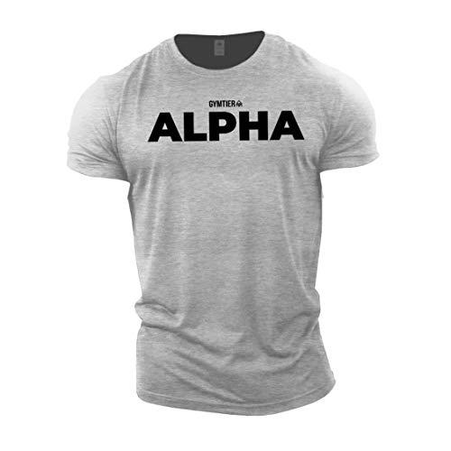GYMTIER Alpha - Camiseta Musculación | Hombres Camiseta Gimnasia Ropa Entrenamiento
