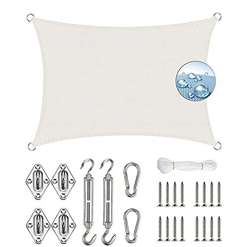 KOUDU Vela de Sombra 2.5x4.5m Resistente y Transpirable, Toldo Vela IKEA Impermeable, para Exteriores Patio, el jardín, protección UV, Blanco