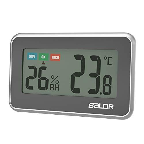 SINZON Thermometer Hygrometer Innen,Temperatur Feuchtigkeit Digitales,Indicator Hohen Genauigkeit,℃ / ℉ Umschaltbar, Komfortanzeige,Max/Min, Batterie im Lieferumfang Enthalten, Magnet, Hängend-Schwarz