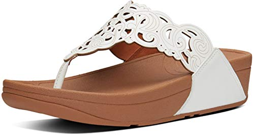 FitFlop Womens Flora Leather Toe Post Sandal Shoes, White, US 6