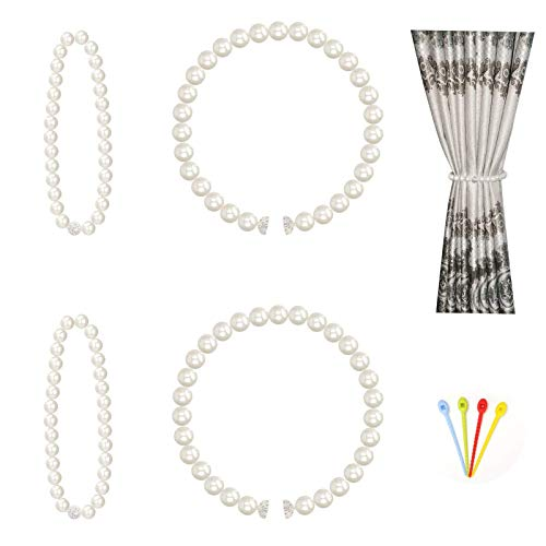 Magnetic Curtain Tiebacks 4 Pack, Curtain Tie Backs for Curtains Drapes, Decorative Pearl Curtain Ties Window Treatment Holdbacks with Cable Ties, Beige