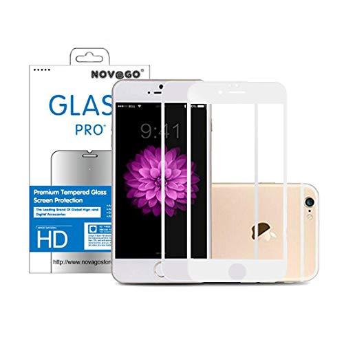 NOVAGO - Set di 2 pellicole Proteggi Schermo in Vetro temperato con Contorno in Carbonio Morbido Resistente per iPhone 6 Plus, iPhone 6s Plus (5.5''), Colore: Bianco