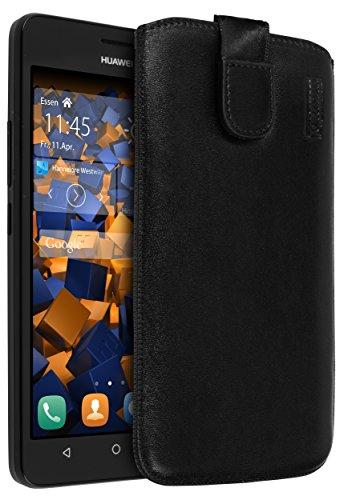 mumbi Echt Ledertasche kompatibel mit Huawei Y635 Hülle Leder Tasche Hülle Wallet, schwarz