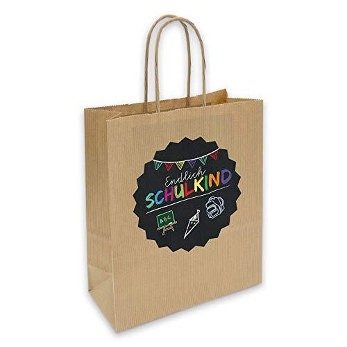 itenga Geschenkverpackung Einschulung Geschenktüte aus Papier inkl. Sticker Aufkleber Endlich Schulkind Tafel rund