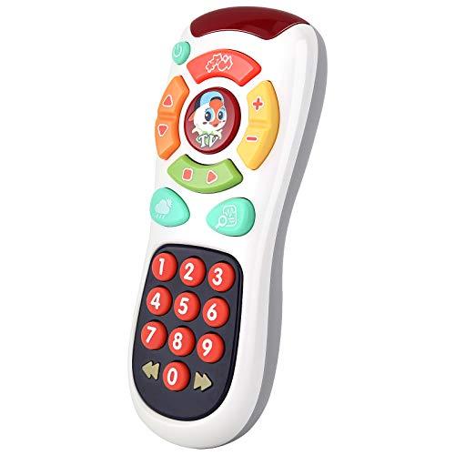 Zooawa Teléfono de Juguete para Niños, Control Remoto Movíl Regalo Educativo con Música Luz Aprendizaje de Idiomas, Mando a Distancia Funciona con Pilas para Bebés más de 6 Meses - Múlticolor