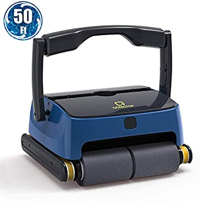 OT QOMOTOP Automatic Robotic Pool Cleaner, Portable Pool Cleaner with Wall Climbing&Waterline-Cleaning Function, 2 Large Filter Baskets, Ideal Pool Cleaner for In-ground/Above Ground Pools up to 50ft
