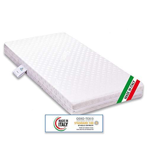 Materasso per Culla Lettino Bimbo antisoffoco Misura 60x120 cm Alto 9 cm con Rivestimento sfoderabile e Lavabile in Lavatrice con guanciale antisoffoco in Omaggio.
