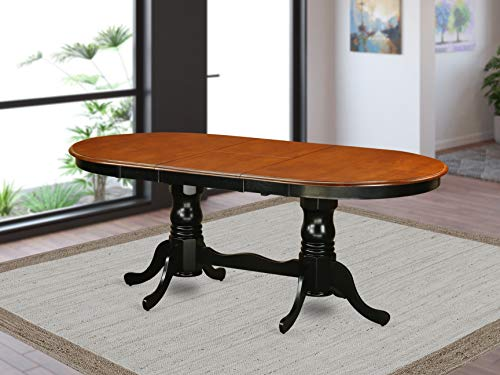 East West Furniture PVT-BLK-TP Butterfly Leaf Plainville Dining Room Table - Cherry Table Top and Black Finish Double Pedestal Legs Hardwood Structure Dinner Table