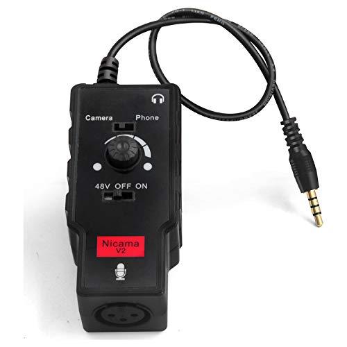 Adaptador XLR hembra a TRS y TRRS de 3,5 mm para Micrófonos de Condensador, Nicama V2 Preamplificador de micrófono para iPhone, iPad, Tabletas, Smartphone y Cámara DSLR Canon Nikon Sony