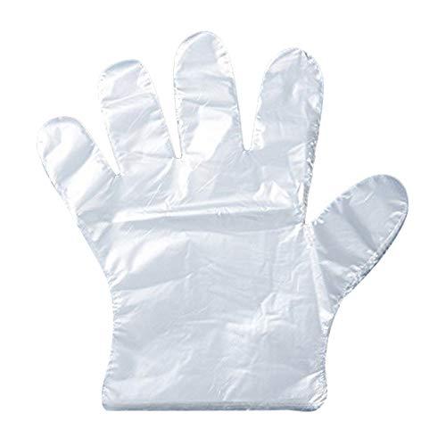 Leisial 500 gants plastique jetables pour Traiteur, bricolage, nettoyage, teinture capillaire, gants en polyethylène, claire, CL