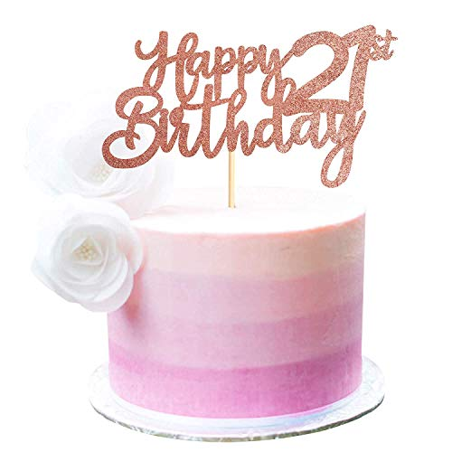 Svnaokr Decoración para tarta de cumpleaños para adultos con texto en alemán 'Alles Gute zum Geburtstagsfeier-Dekoration (21 años de edad)