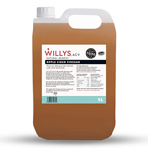 Willy's Organic Raw Apple Cider Vinegar with Real Live Mother (5 Litre Jerry Can)