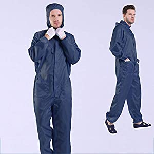 DaMai Reusable Microporous Coverall Medical Protective Coverall Unisex Siamese Coveralls with Hat, Elastic Cuffs and Pocket, for Spray Paint Chemical Industrial,Navy,XXXL