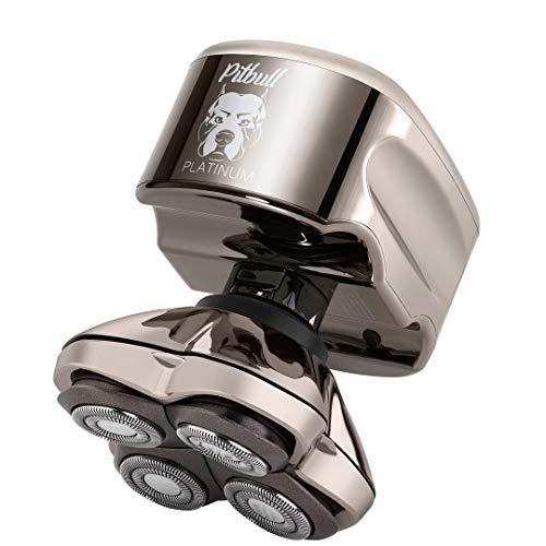 Skull Shaver Pitbull Platinum PRO Maquinilla de afeitar eléctrica, funcionamiento en húmedo/seco, 4 cabezas en 4 direcciones, inalámbrica, recargable por USB, movimiento giratorio