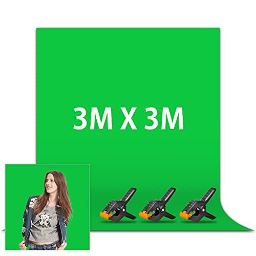 Orthland Greenscreen 3 x 3m, Grüner Foto Hintergrund Faltbare mit 3 Stück Klemmzwingen, Fotografie Hintergrund Polyester für Besondere Effizienz,...