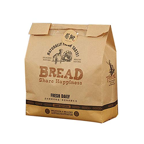 Pack of 50 Kraft Paper Bread Loaf Bag with Front Window Paper Lunch Bags Baking Packaging Shredded Toast Bag for Home Kitchen Bakery (12 x 8 x 3.9 in)