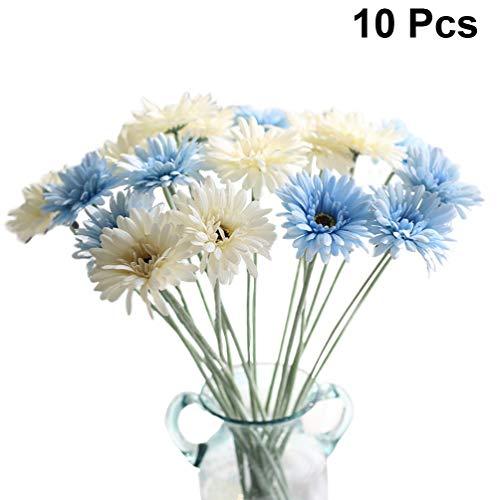 VOSAREA 10 Piezas de Flores de Margarita Africana Ramo de Flores de Gerbera Artificial de Seda Ramo de Flores para la decoración del hogar de la Boda del Estudio (Azul Leche Blanca)