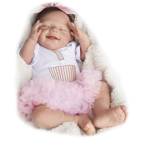 JIZHI RebornBaby Dolls 20 Inch Realistic Newborn Baby Dolls Sleeping Smile Lifelike Baby Girl Cloth Body Handmade Real Life Reborn Dolls with Toy Accessories Gift Set for Kids Age 3+ & Collection