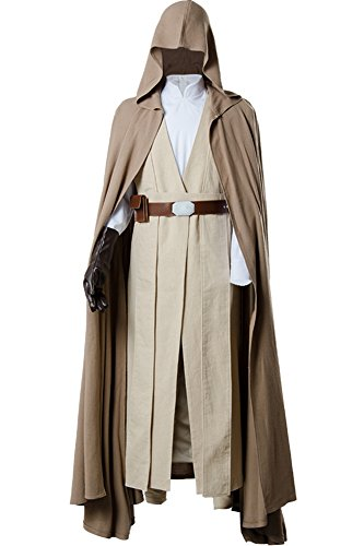 Cosplaysky Men's Halloween Tunic Hooded Robe Outfit Luke Skywalker for Jedi Costume Ver.2 X-Large Brown