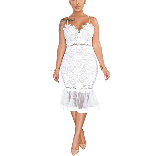 Womens Sexy Lace Dress V Neck Spaghetti Strap Hollow Out Bodycon Midi Skirt (White  X-Large)