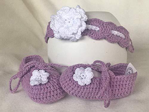 Newborn Baby-Geschenk-Set Girlie Babyschuhe Ballerinas + Haarband - gehäkelt - Newborn Fotografie