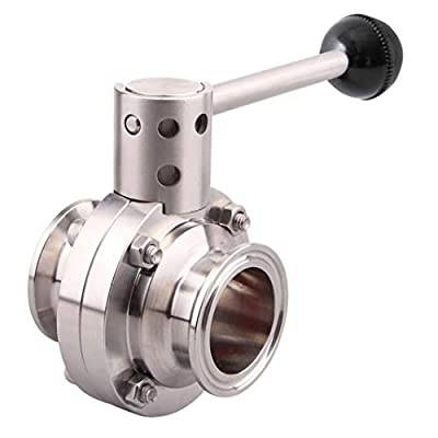 """LOZOME OD 3"""" Sanitary Butterfly Valve with Pull Handle 304 Stainless Steel Tri Clamp Clover by LOZOME"""