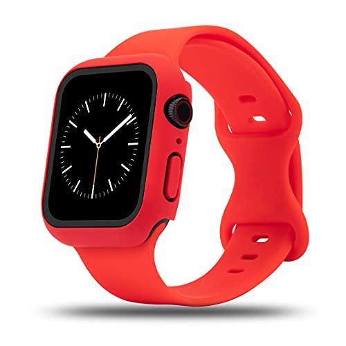 baklon Correa con Caja Compatible con Apple Watch Correa 38mm 40mm 42mm 44mm, Deportivas de Silicona Correas de Repuesto Compatible con iWatch SE Series 6 5 4 3 2 1, 42mm-M/L, Rojo