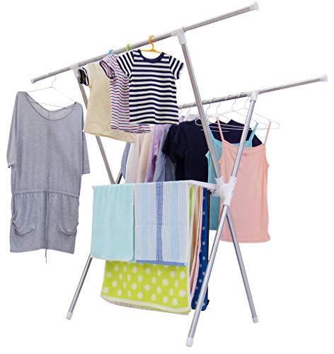 極太のパイプを使っているので、安定感たっぷり。エカンズのこちらの室内物干しは、耐荷重は全体で12キロで、水分を含んだ重い洗濯物にも安心です。