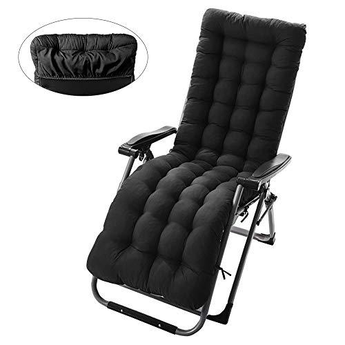 Zonnebank kussen vervangende pads met anti-slip cover draagbare dikke ligstoel kussen bed ligstoel relaxer stoel cover voor buiten tuin patio bank strand Zwart