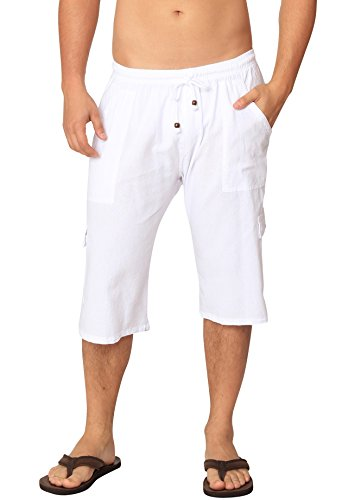 Men's Casual Cotton Cargo Shorts Multi-Pocket Outdoor Wear Capri Lightweight Pants (White, Small)