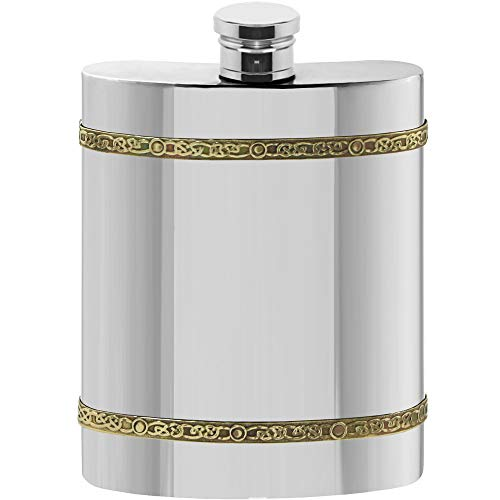 English Pewter Company 6oz Brass Celtic Band Pewter Liquor Hip Flask [CEL489]