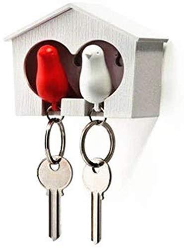 3 zum Preis von 2 Schlüsselanhänger mit Schlüsselkasten rosa gelb weiß blau - Spatz im Haus mit Pfeife SPARROW Schlüsselanhänger Vogelhaus 2 kaufen 1 geschenkt