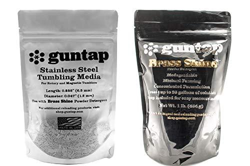 guntap Stainless Steel Tumbling Media + Brass Shine Powdered Detergent Bundle (1lb Media (.047' x .255' pin Size), 1lb Brass Shine Powdered Detergent)